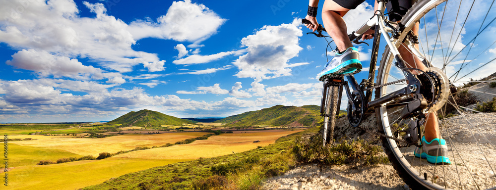 Fototapeta Mountain bike.Sport and healthy life.Extreme sports.Mountain bicycle and man.Life style outdoor extreme sport