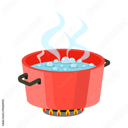 Valokuvatapetti Boiling water in pan Red cooking pot on stove with water and steam Flat design vector