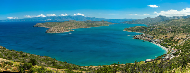 Greece Crete,view to Spinalonga island,  turquoise water panorama