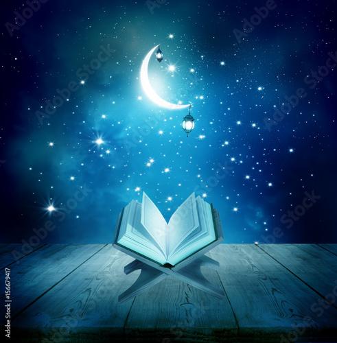 Fototapeta Ramadan Kareem background.Quran on a wooden book stand obraz na płótnie