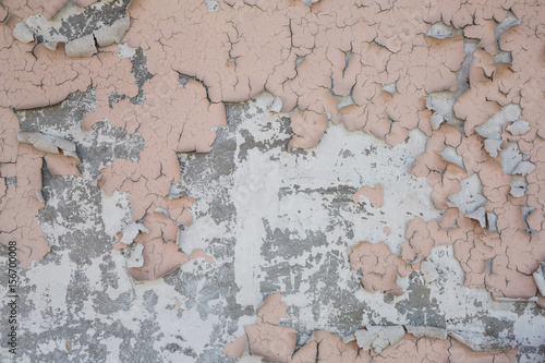 Aluminium Prints Old dirty textured wall pink peeling paint on concrete wall texture