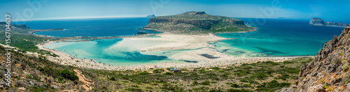 Fototapeta Greece, Crete Balos beach. Panorama from the hill high point obraz