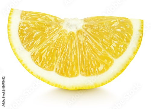 Ripe wedge of yellow lemon citrus fruit isolated on white background with clipping path