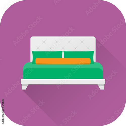 Bed Icon Vector Flat Design With Long Shadow White Double Bed