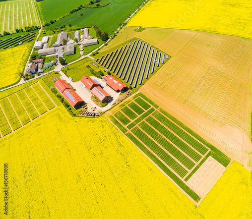 In de dag Geel Aerial view to modern farm with organic produce. Agricultural landscape with green wheat and rapeseed fields from above. Sustainable development and renewable energy theme.