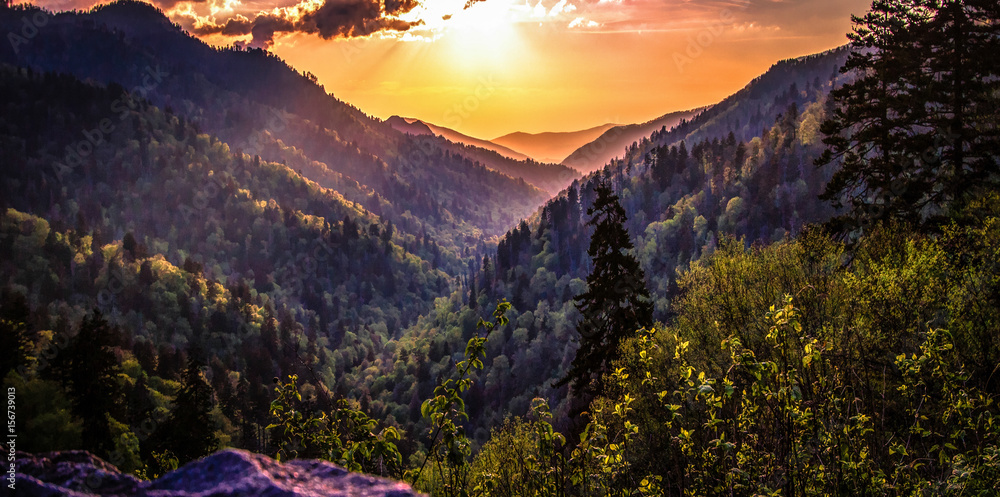 Fototapety, obrazy: Great Smoky Mountain Sunset Landscape Panorama. Sunset horizon over the Great Smoky Mountains from Morton overlook on the Newfound Gap Road in Gatlinburg, Tennessee.