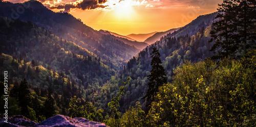 Fotografia Great Smoky Mountain Sunset Landscape Panorama