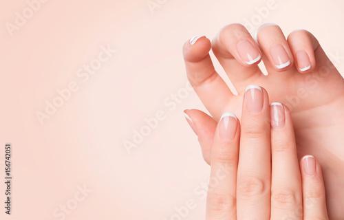 Aluminium Prints Manicure Beautiful woman hands. Spa and manicure concept