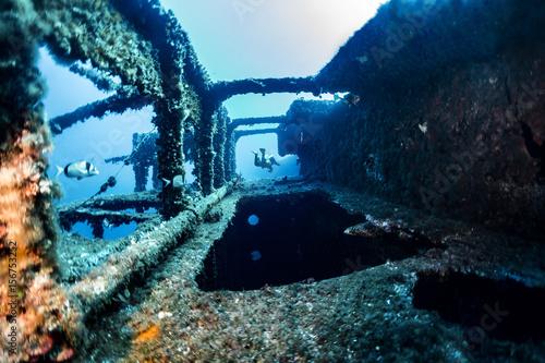 Diving on the wreck  Vissilios T  Island VIS Croatia Fotobehang