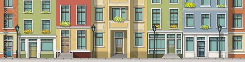 Seamless cartoon cityscape background