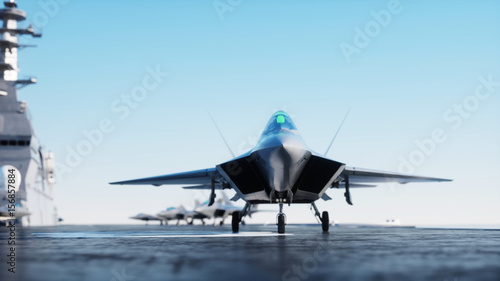 Fotografia  Jet f22, fighter on aircraft carrier in sea, ocean