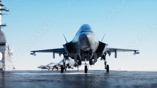Obraz na dibondzie (fotoboard) Jet f35, myśliwiec na lotniskowcu w morzu, ocean. Koncepcja wojny i broń. 3d rendering.