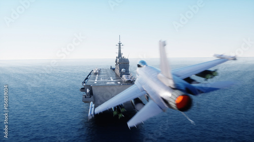 landing jet f16 on aircraft carrier in ocean Canvas Print