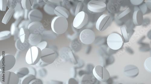 Fotografia  falling pills, tablets. Medical concept. 3d rendering.