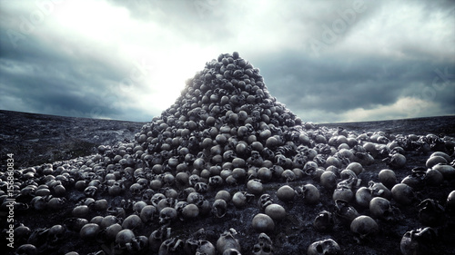 Fotografía  heap of skulls. Apocalypse and hell concept. 3d rendering.