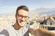 Fashion Boy Taking Selfie While Traveling In Naples, Italy