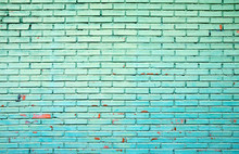 Old Grunge Green Brick Wall Ba...