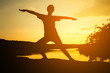 Silhouette young women yoga on nature, Concept yoga.
