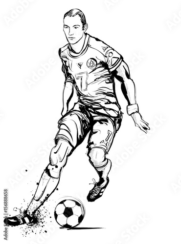 Tuinposter Art Studio Soccer player in action on grunge background
