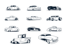 Classic Cars Collection. Vector Illustration Set