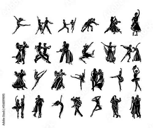 Fotomural dancer people silhouette collection. Vector Illustration.