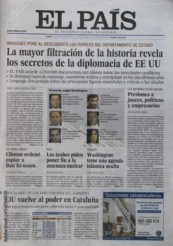 Picture shows November 29, 2010 edition of Spanish newspaper