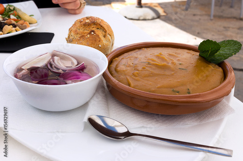 Gofio Escaldado traditional Canarian dish served with chopped onions, Fuerteventura