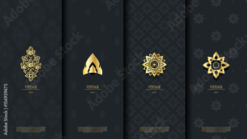 Fotografia, Obraz  Packaging template of exotic Thai pattern design element concept dark blue vinta