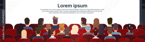 Fototapeta People Sit Cinema Hall Back Rear View Looking Ar Screen With Copy Space Flat Vector Illustration obraz