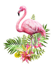 Fototapeta Do pokoju Tropical watercolor flowers. card with floral illustration and bird. Bouquet of flowers isolated on white background. Leaf, Flamingo and buds. Exotic composition for invitation