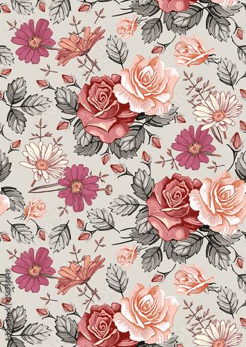 Seamless Classic Pattern Beautiful Flowers Chamomile Rose Vintage