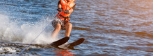 Woman Riding Water Skis Closeu...