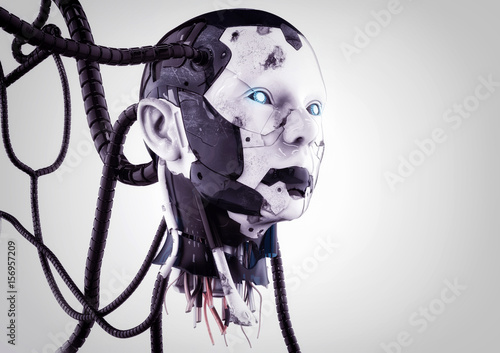 The head of a cyborg with wires on a gray background. Canvas Print