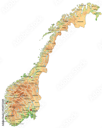 Fotografie, Obraz High detailed Norway physical map with labeling.