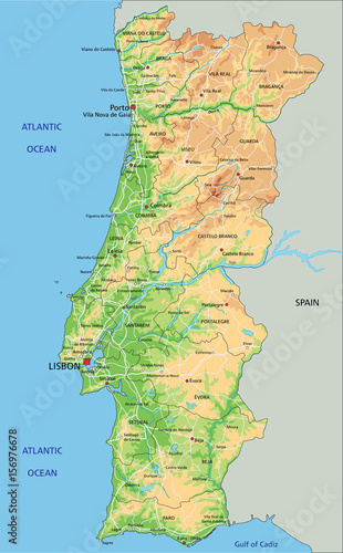 High detailed Portugal physical map with labeling. Canvas Print