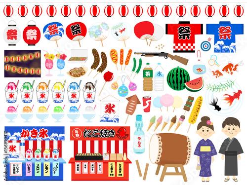 夏祭りのイラストセット - 156990410