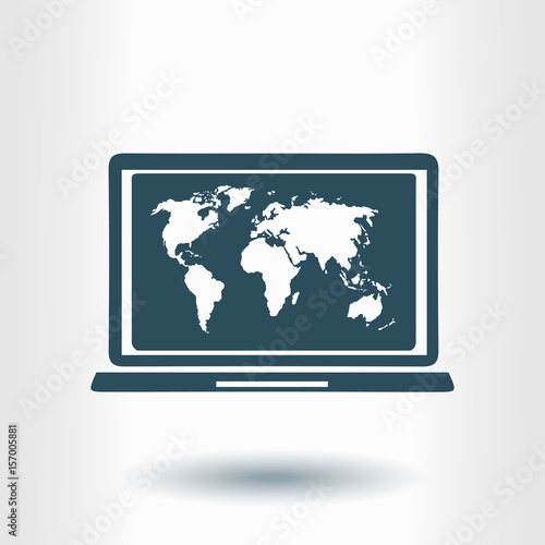 Laptop and world map illustration world map geography symbol flat laptop and world map illustration world map geography symbol flat design style gumiabroncs Image collections