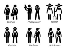 Jobs, Works, And Occupations For Women. Artworks Depict Businesswoman, Female Photographer, Woman Farmer, Female Captain, Lady Mechanic, And Woman Hairdresser.