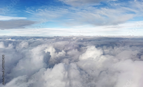 Obraz Aerial cloudscape from airplane window. - fototapety do salonu