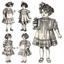 Vintage Illustration Of Girls