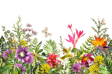 Panel Szklany PodświetlaneSeamless border with tropical plants - flowers, leaves. exotic watercolor floral pattern with herbs, butterfly. Seamless floral rim, band for cards, invitation or fabric. .