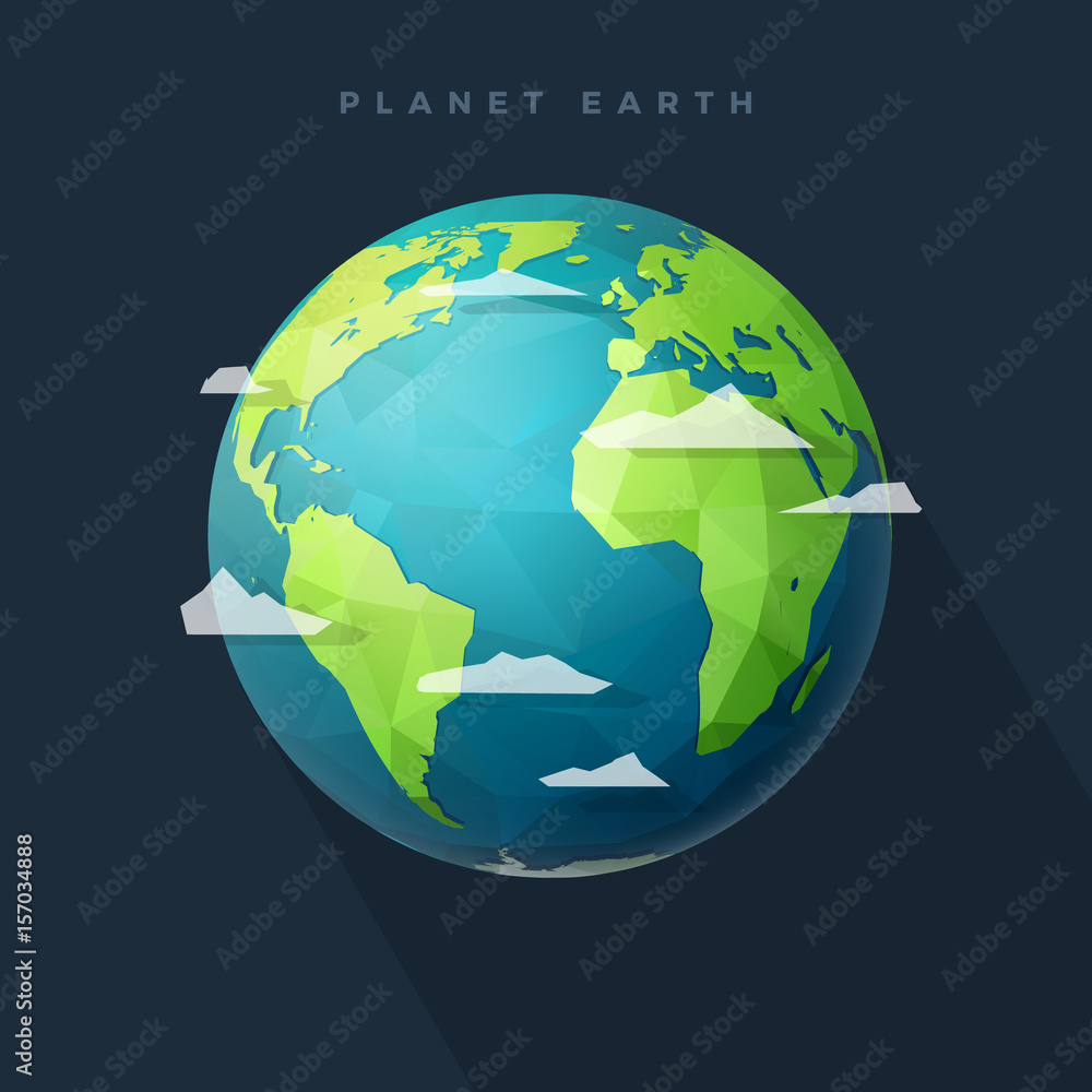 Fototapety, obrazy: polygon west earth hemisphere on dark