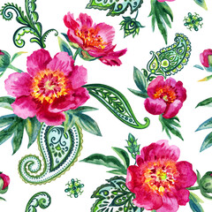 Panel Szklany Peonie Seamless watercolor pattern of pink peonies and paisley.  Illustration drawing on white background.