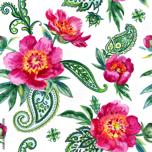 Seamless watercolor pattern of pink peonies and paisley. Illustration drawing on white background. - 157041096