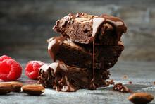 Homemade Chocolate Brownies On Grey Background