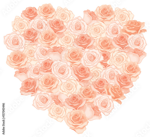 Vector illustration of realistic, detailed heart bouquet in peach ...