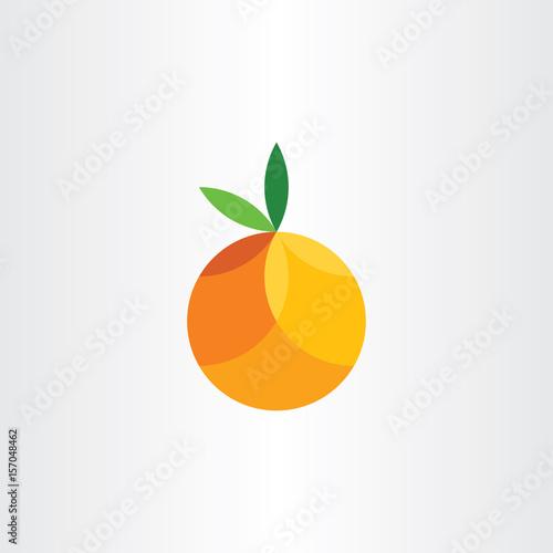 orange citrus fruit geometric icon vector Fototapet