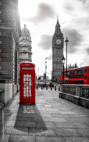 Poster Londres bus rouge red bus and telephone box in front of Big Ben