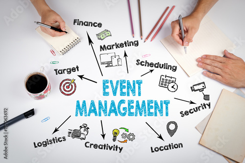 Fotografía Event management Concept. The meeting at the white office table.