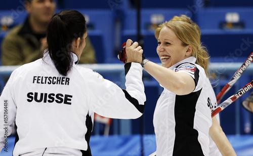 Switzerland's skip Binia Feltscher and third Irene Schori